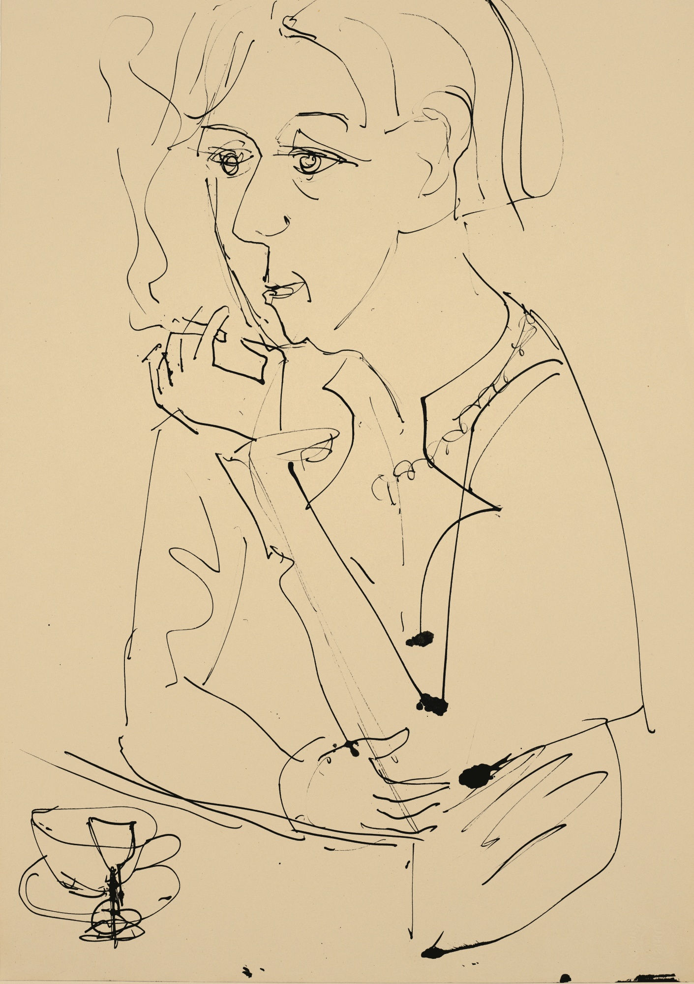 Ernst Ludwig Kirchner-Frau Mit Zigarette (Woman With Cigarette)-1925
