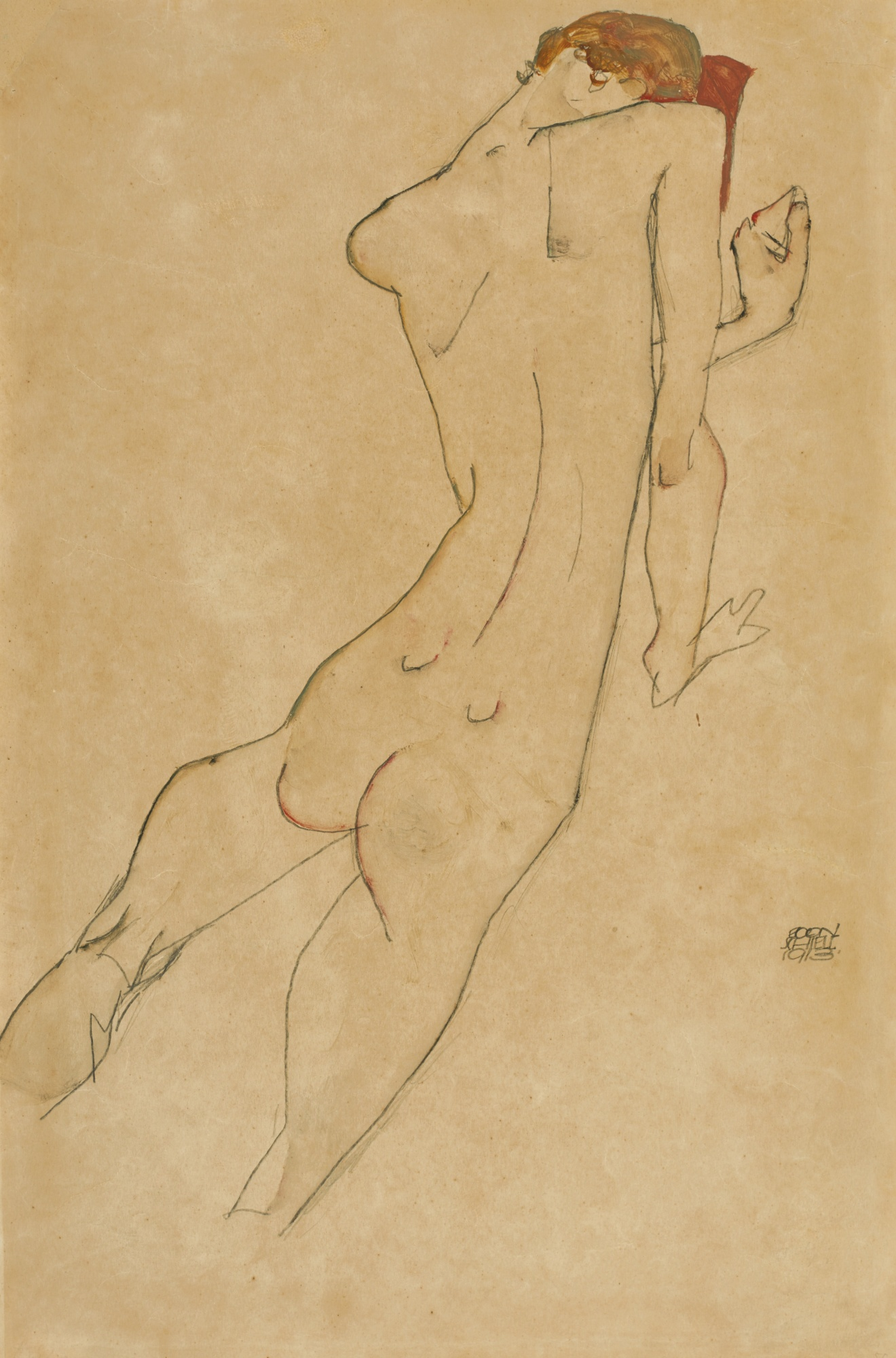 Egon Schiele-Weiblicher Ruckenakt (Female Nude, Back View) - Recto Sitzender Weiblicher Akt (Seated Female Nude) - Verso-1913