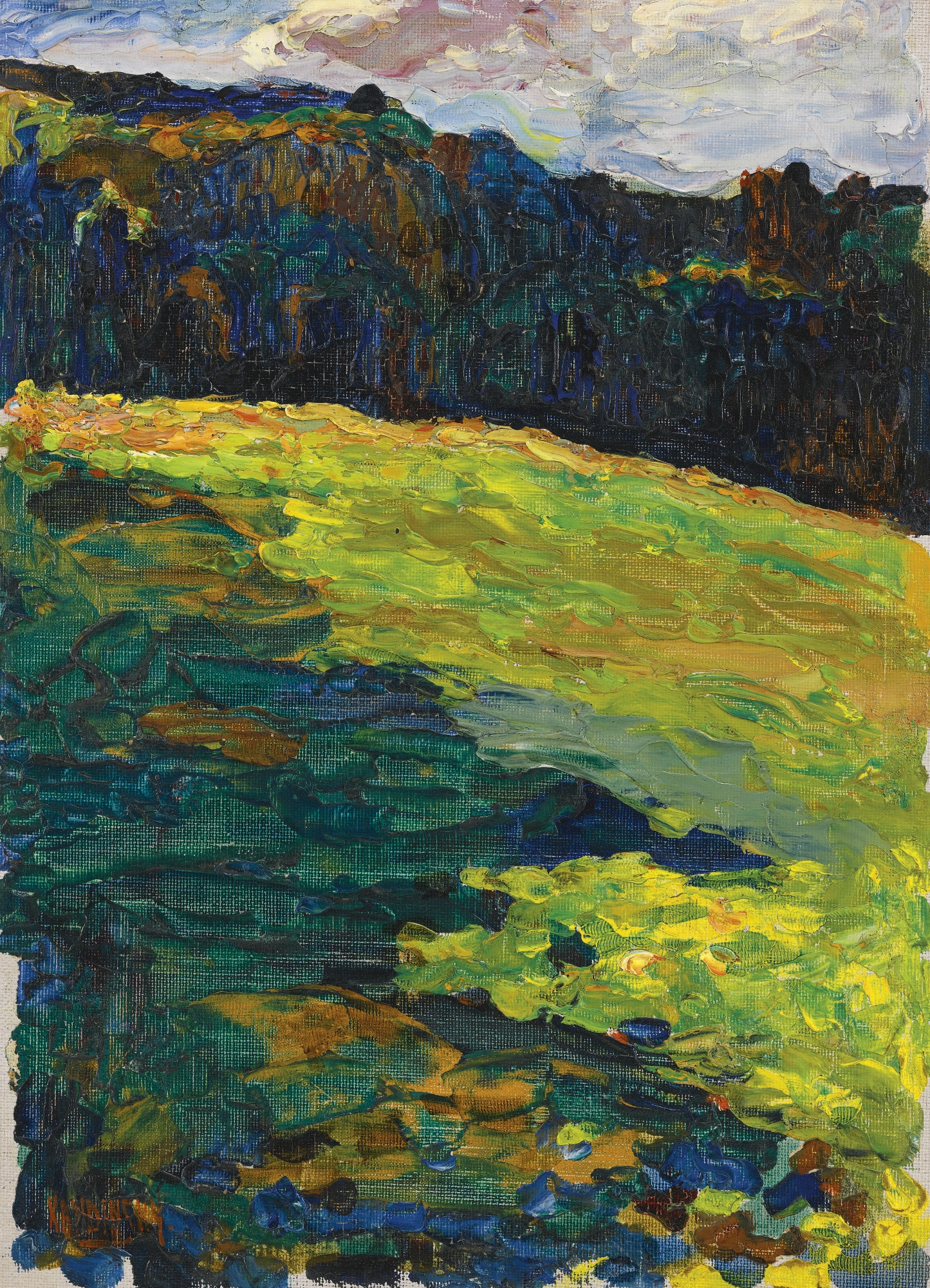 Wassily Kandinsky-Kochel - Bergwiese Vor Waldrand (Kochel - Mountain Meadow At The Edge Of The Forest)-1902