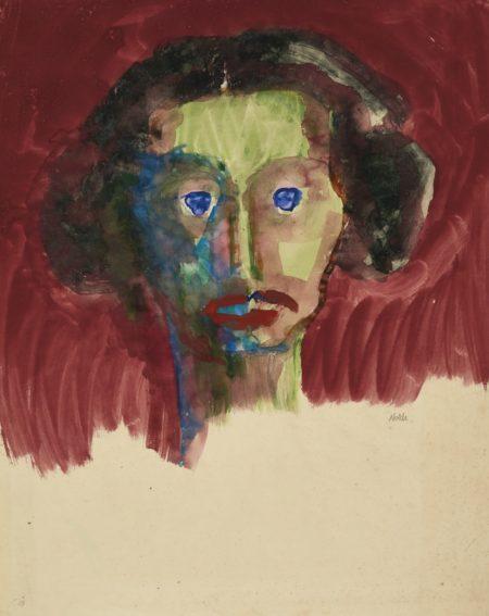 Emil Nolde-Grunes Gesicht, En Face(Green Face)-1913