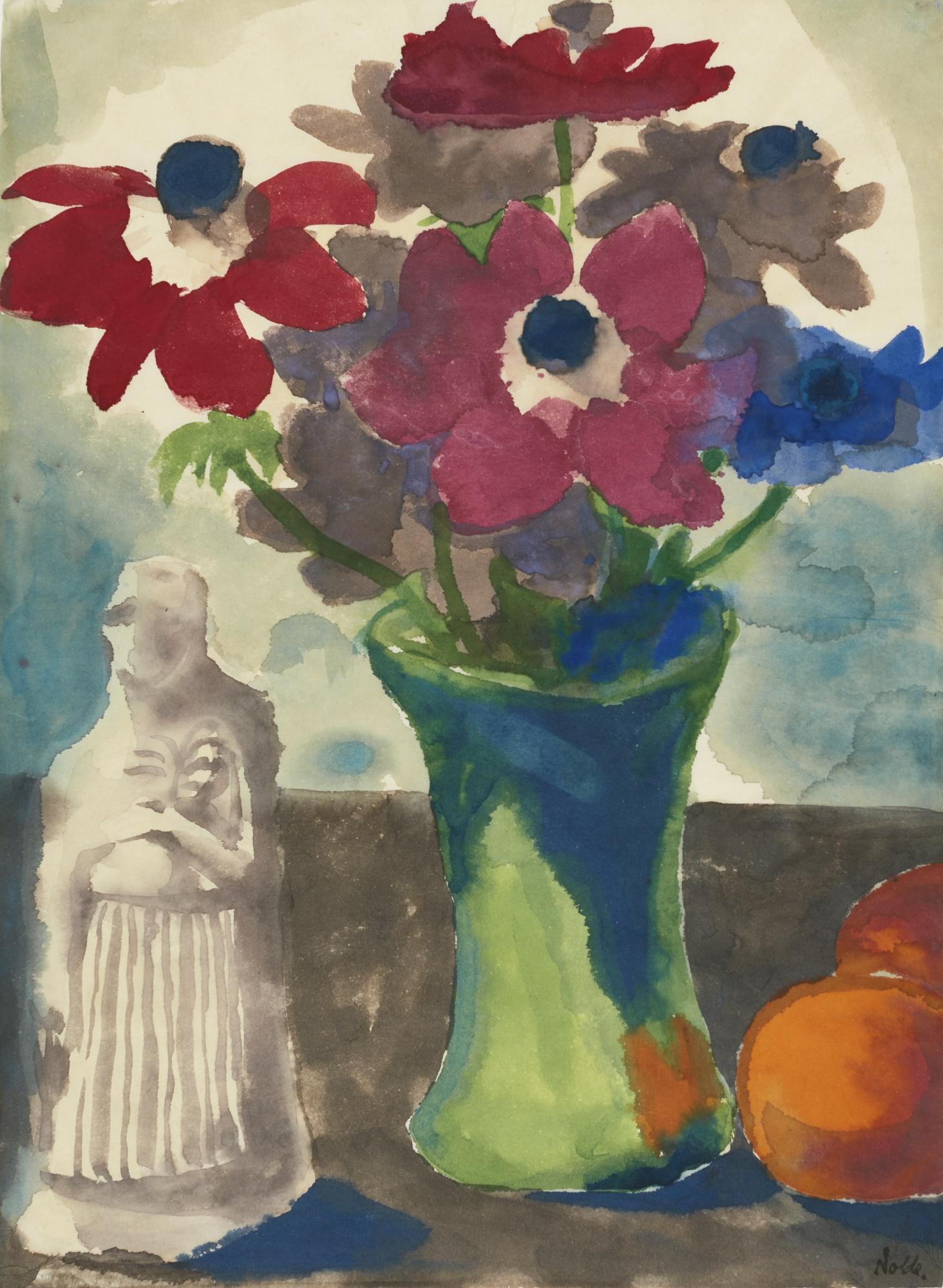 Emil Nolde-Anemonen In Gruner Vase, Orangen Und Eine Skulptur (Anemones In A Green Vase, Oranges And A Sculpture)-1930