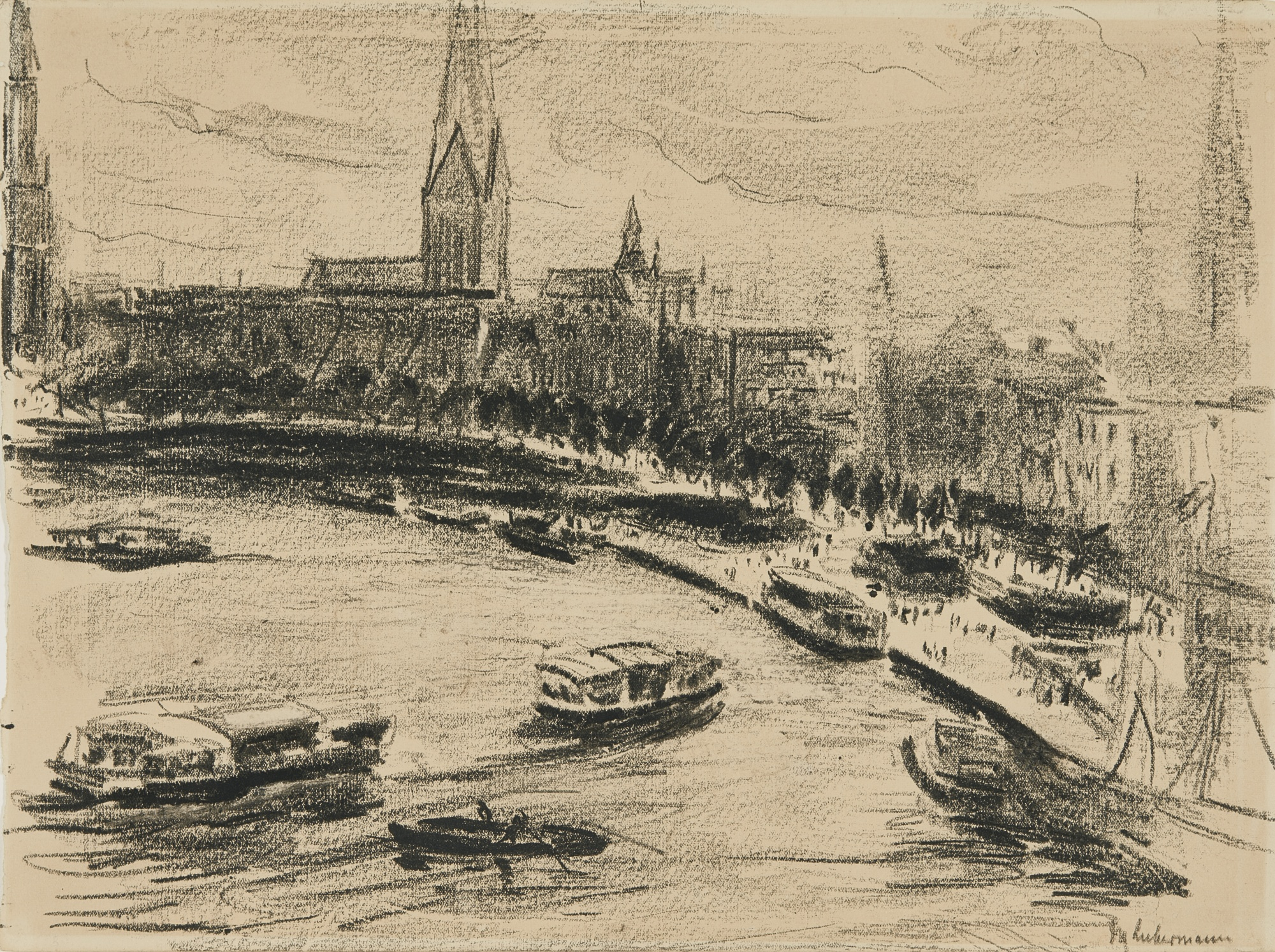 Max Liebermann-Hamburg - Blick Auf Die Binnenalster (Hamburg - View Of The Binnenalster)-1910
