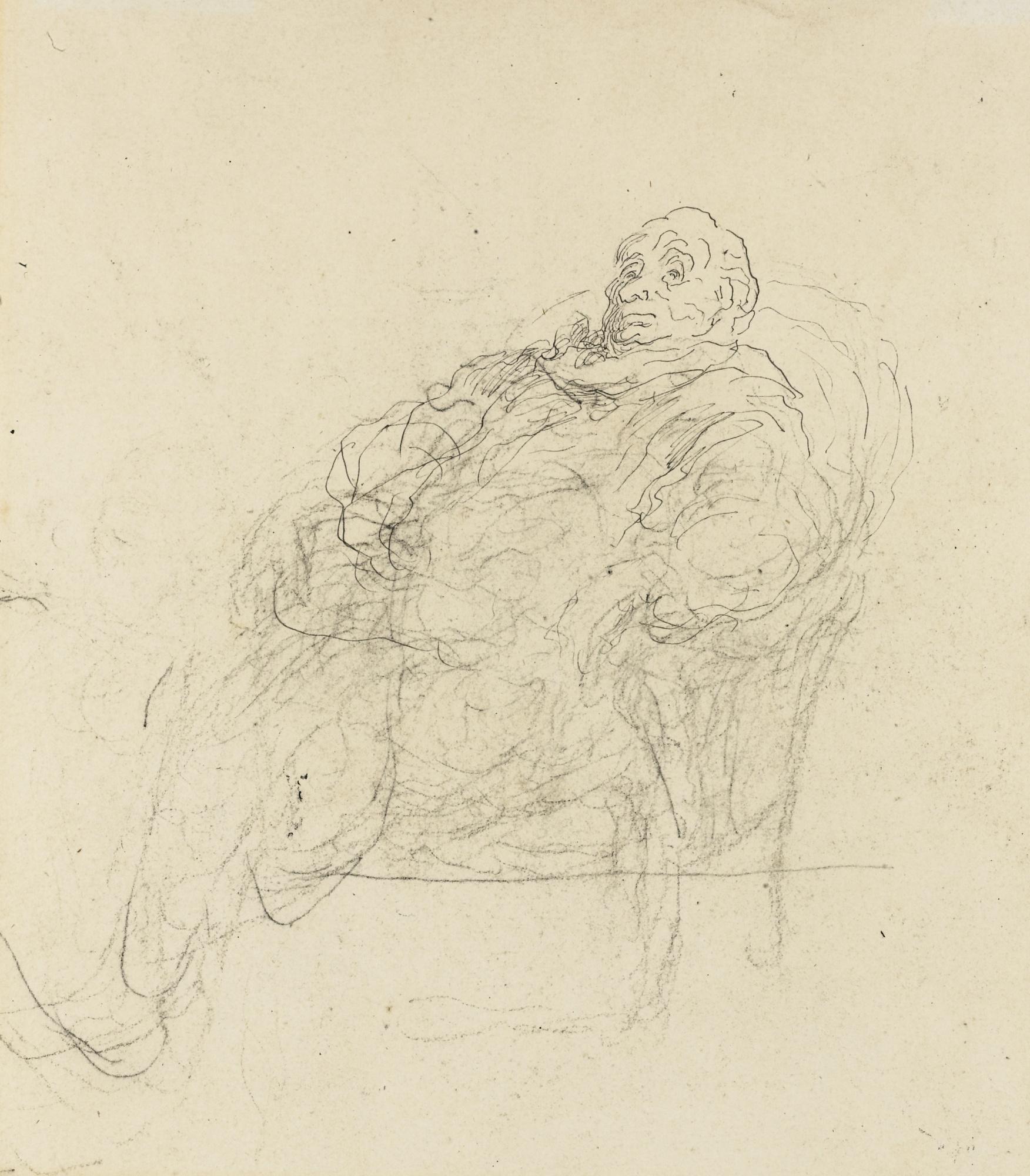 Honore Daumier-Homme Assis Dans Un Fauteuil, Etude Pour Un Auditeur Ou Pour Le Malade Imaginaire-
