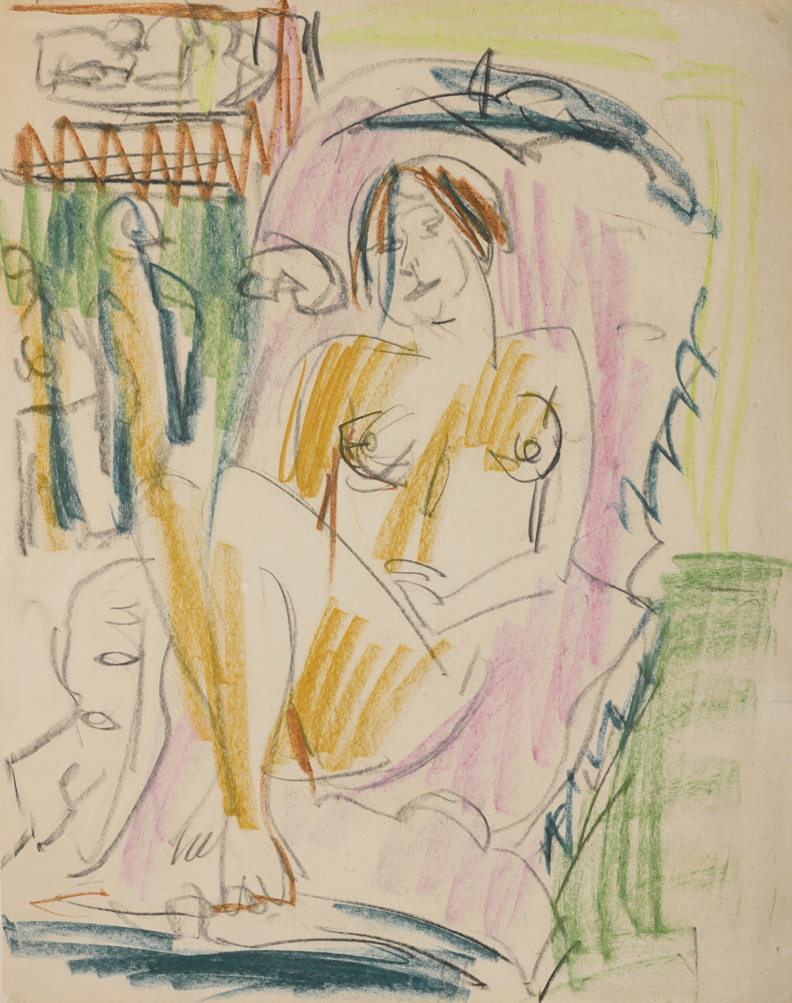 Ernst Ludwig Kirchner-Weiblicher Akt Im Sessel (Im Liegestuhl) (Female Nude In Armchair (On A Reclining Chair)) - Recto Akt Im Waschzuber (Nude In A Bath Tub) - Verso-1922