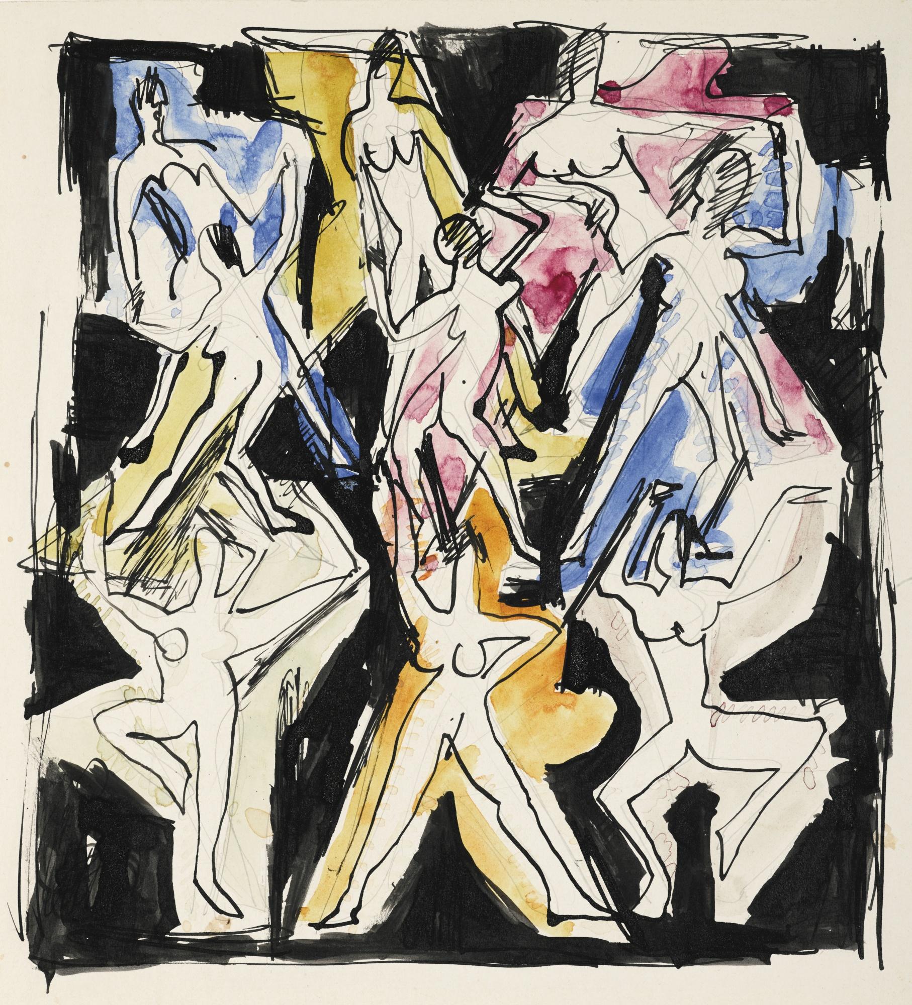 Ernst Ludwig Kirchner-Tanzfiguration (Skizze Fur Wandbild)(Dance Figuration (Sketch For Mural))-1936