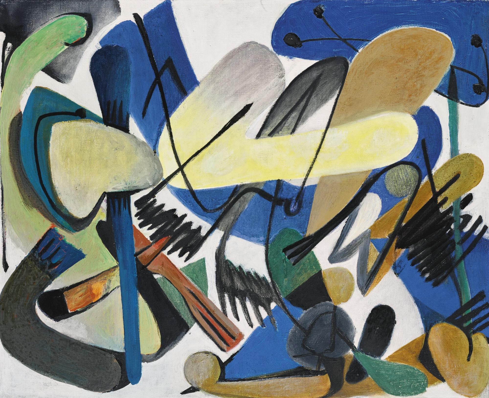Georg Meistermann-Ohne Titel (Schwarz) (Untitled (Black))-1952