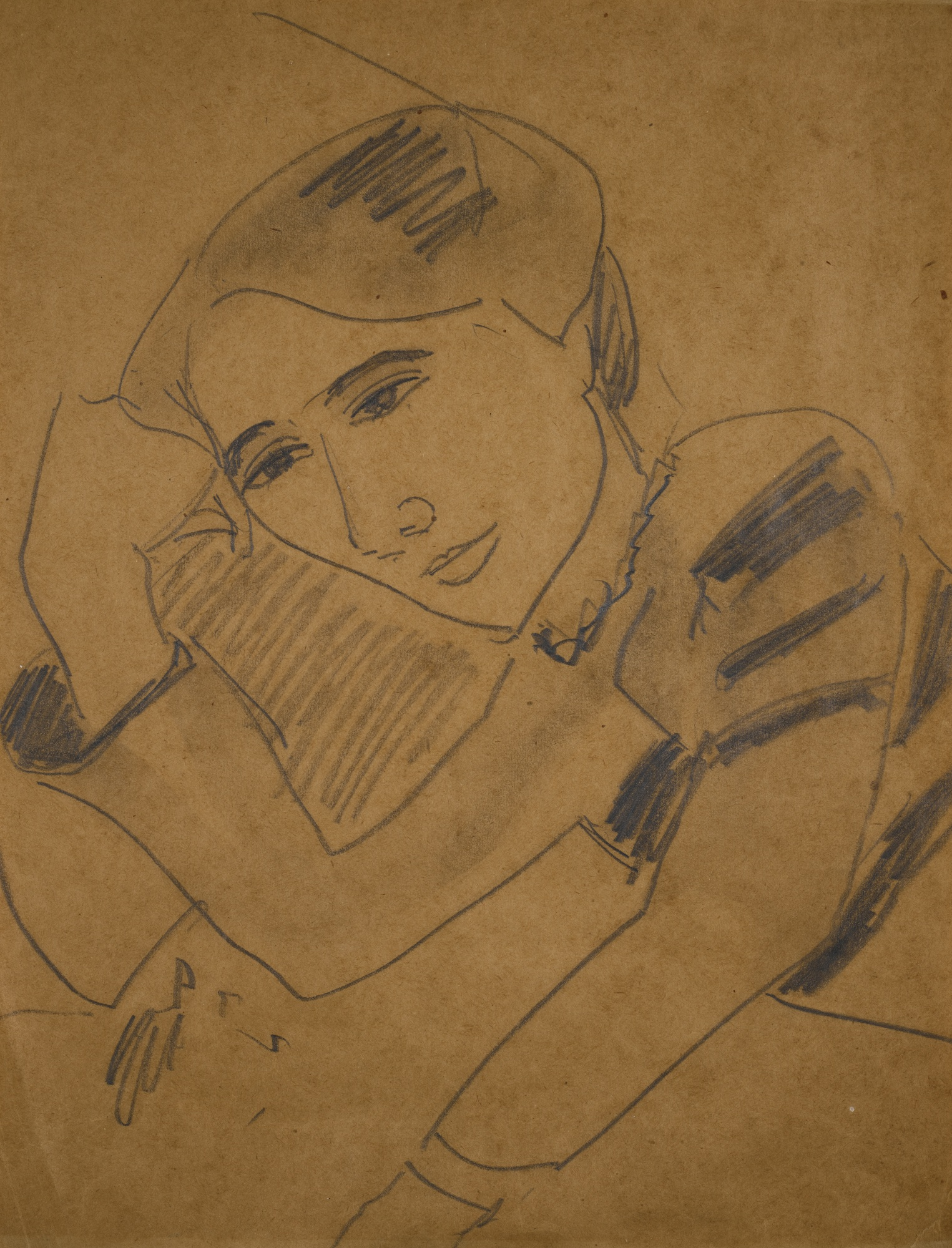 Ernst Ludwig Kirchner-Portrait Dodo (Frauenportrait Mit Aufgestutztem Arm) (Portrait Dodo (Portrait Of A Woman Leaning On Her Arm))-1910