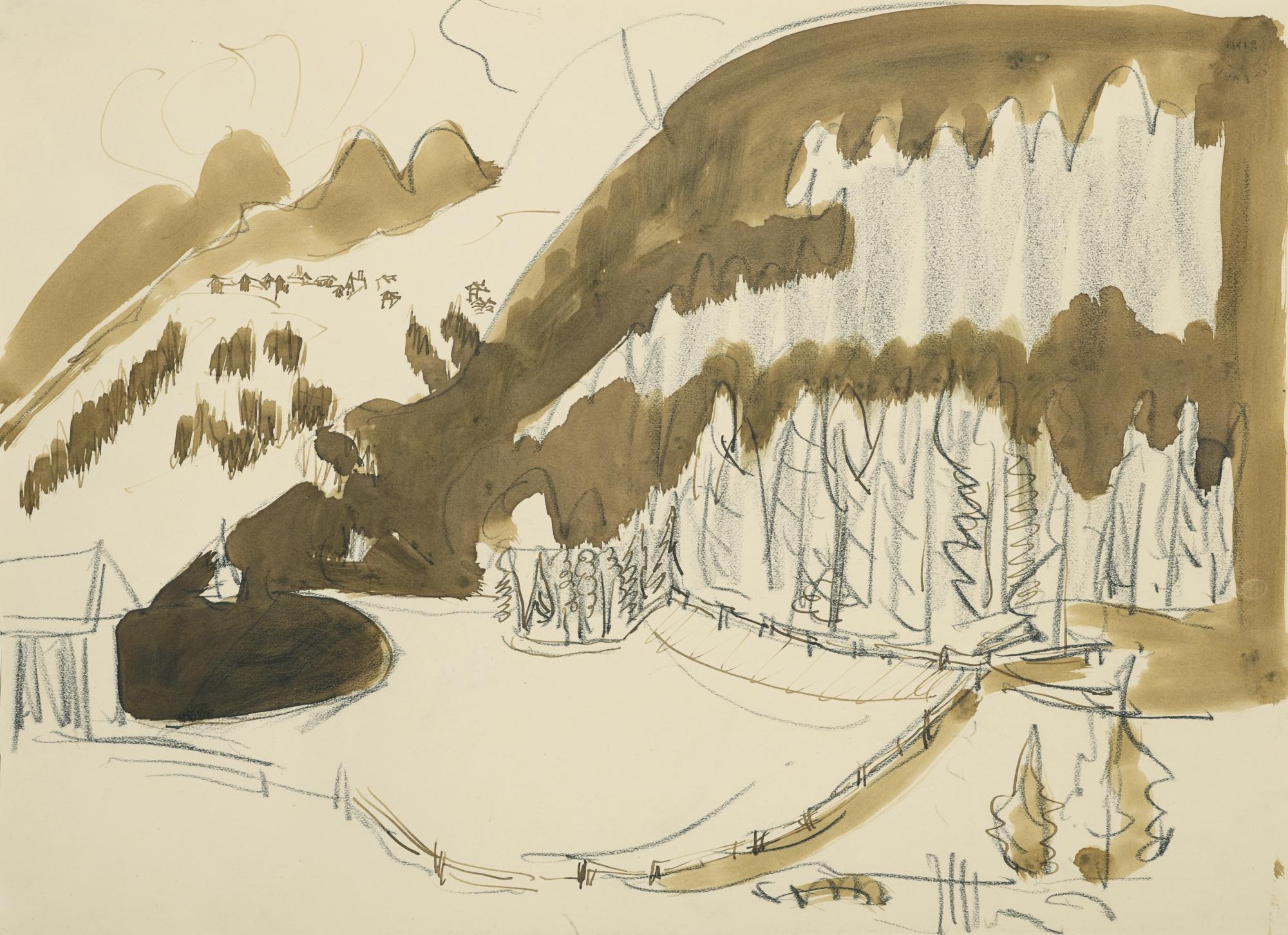 Ernst Ludwig Kirchner-Landschaft Bei Davos (Berglandschaft Im Winter, Bewaldete Berglandschaft) (Landscape Near Davos (Mountain Landscape In Winter, Forested Mountain Landscape))-1937