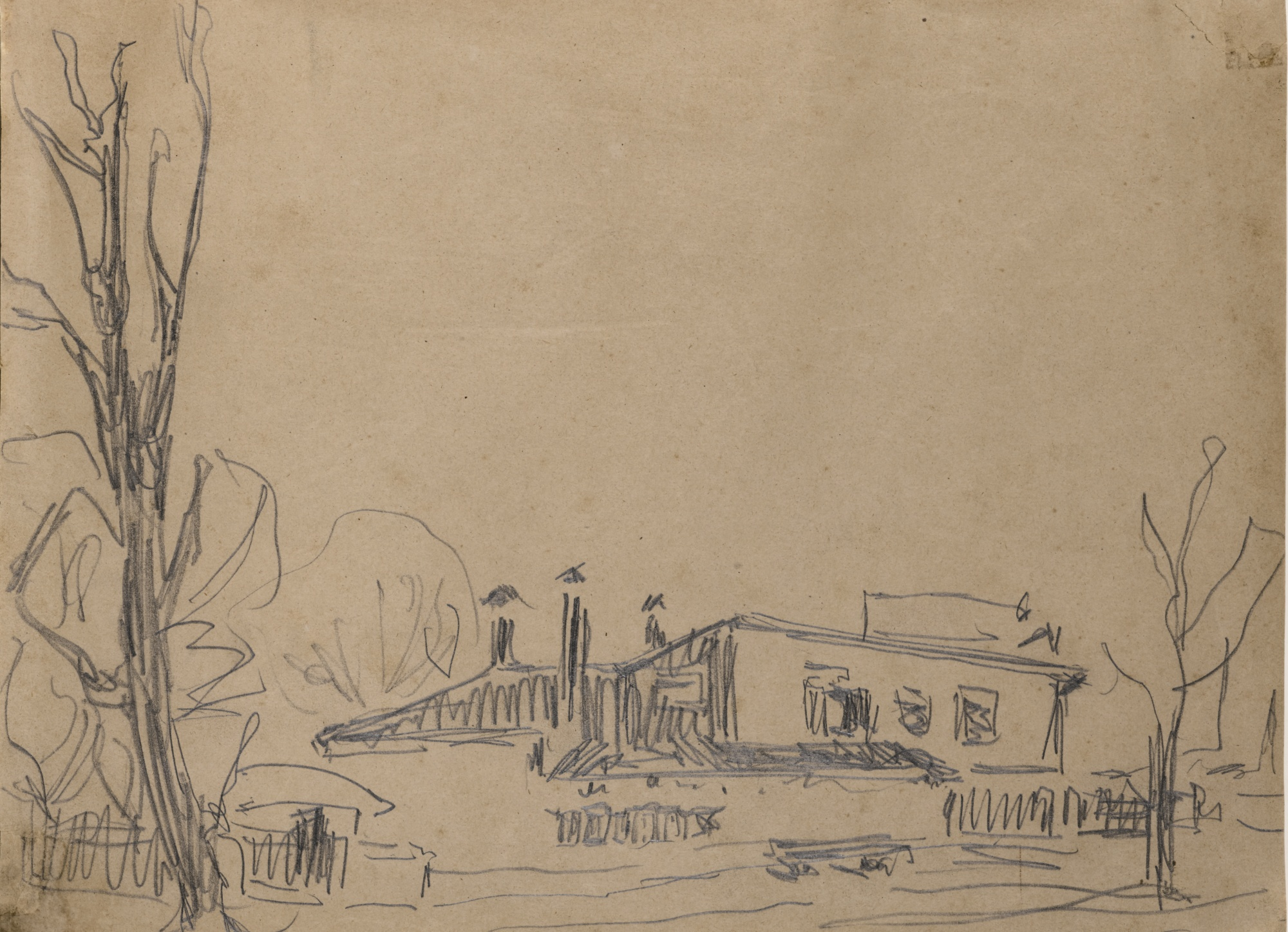 Ernst Ludwig Kirchner-Partie Bei Dresden (Area Near Dresden) - Recto Akt Mit Halskette Auf Einem Sofa Liegend (Nude With Necklace Reclining On A Sofa) - Verso-1909