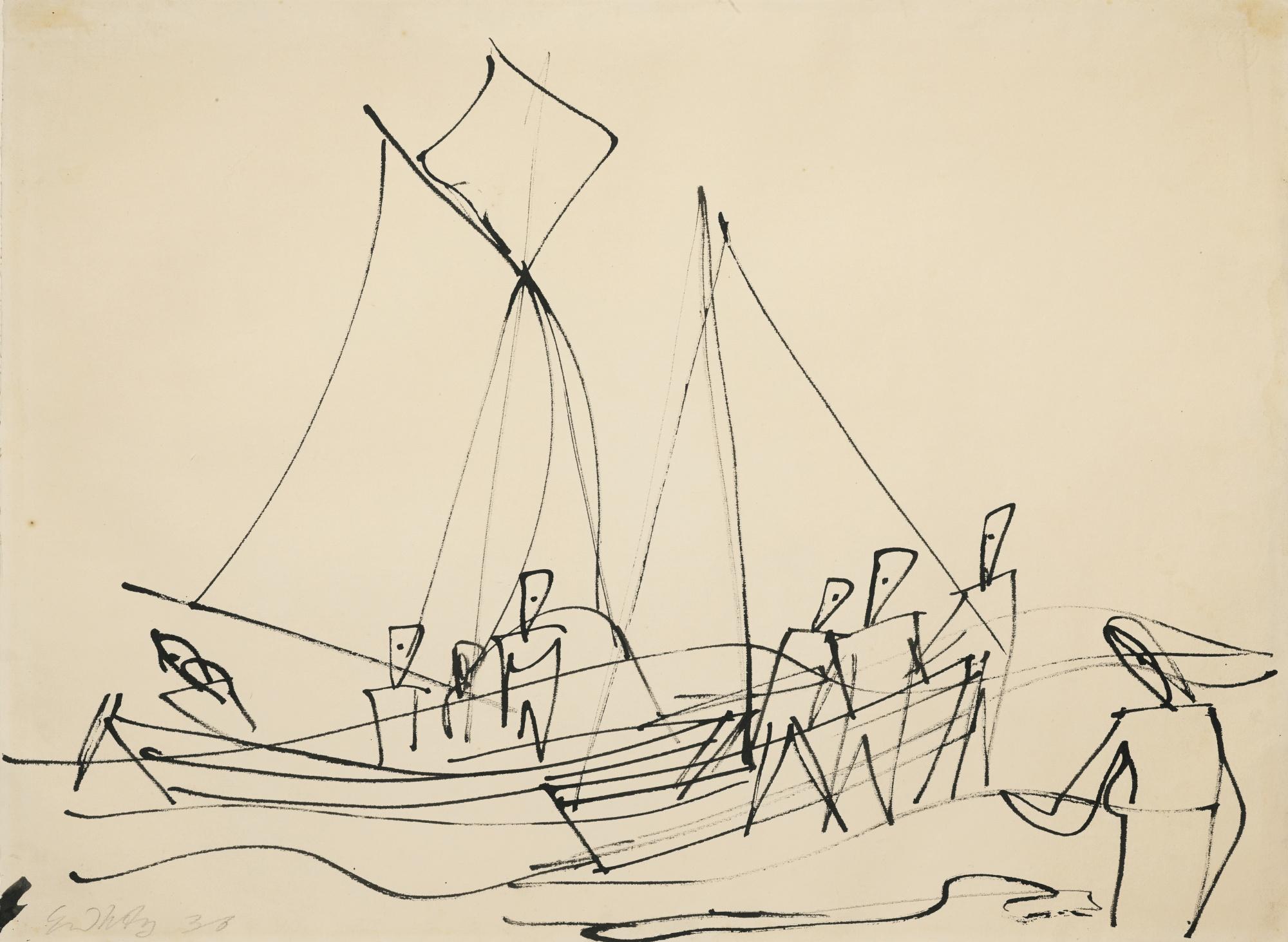 Ernst Wilhelm Nay-Ostseefischer (Baltic Fishermen)-1936