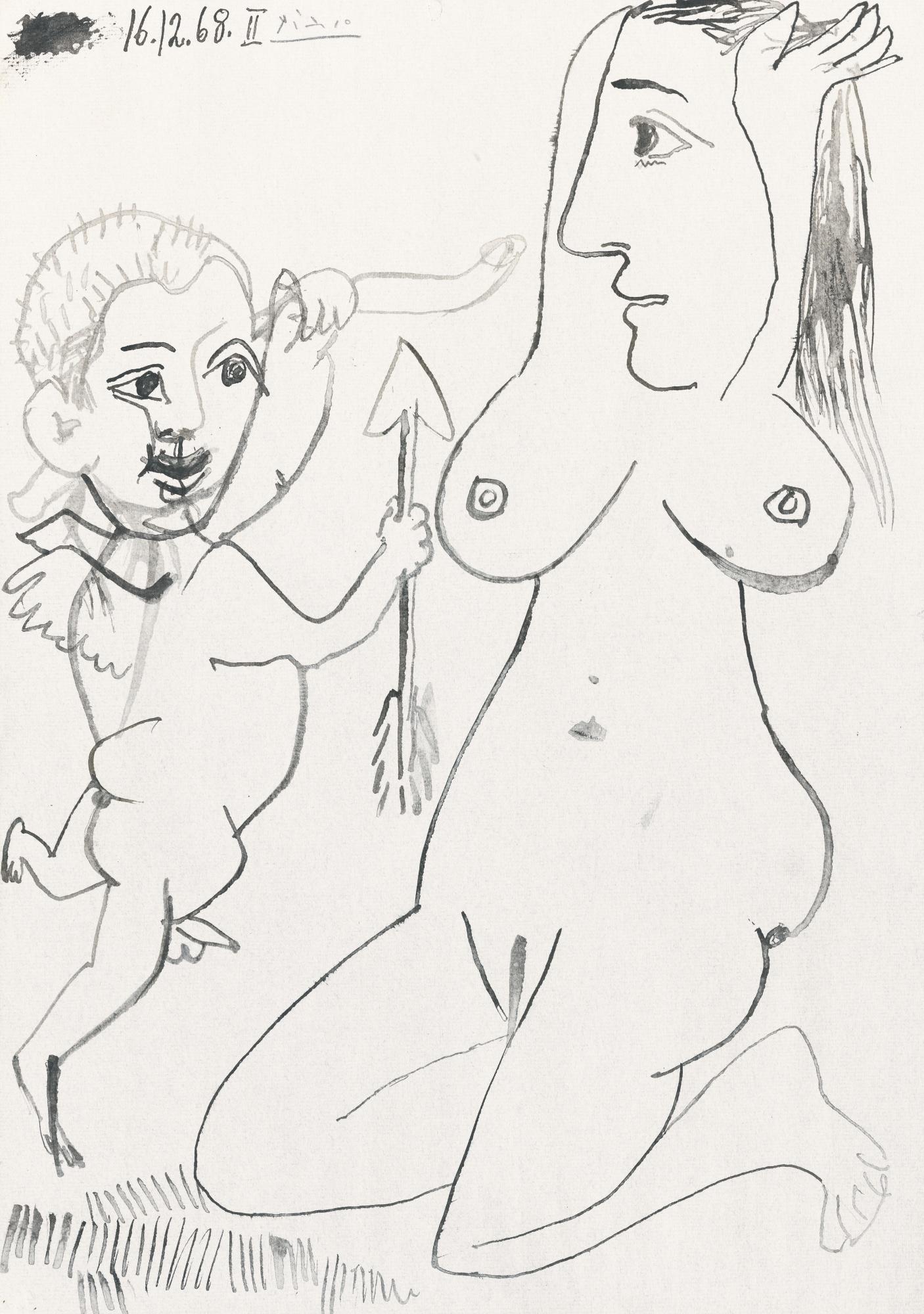 Pablo Picasso-Nu Agenouille Et Amour-1968