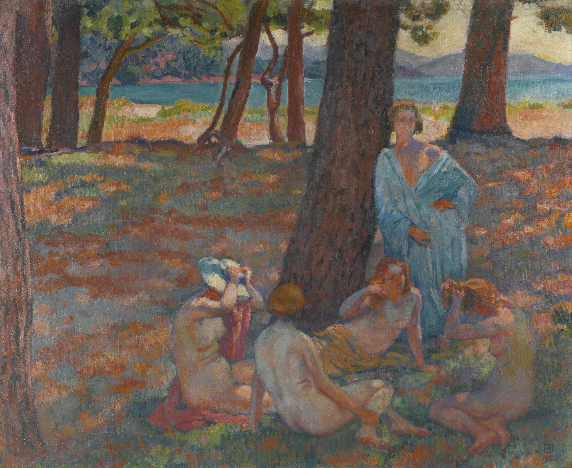 Theo van Rysselberghe-Etude Pour Les Baigneuses Sous Les Pins-1923