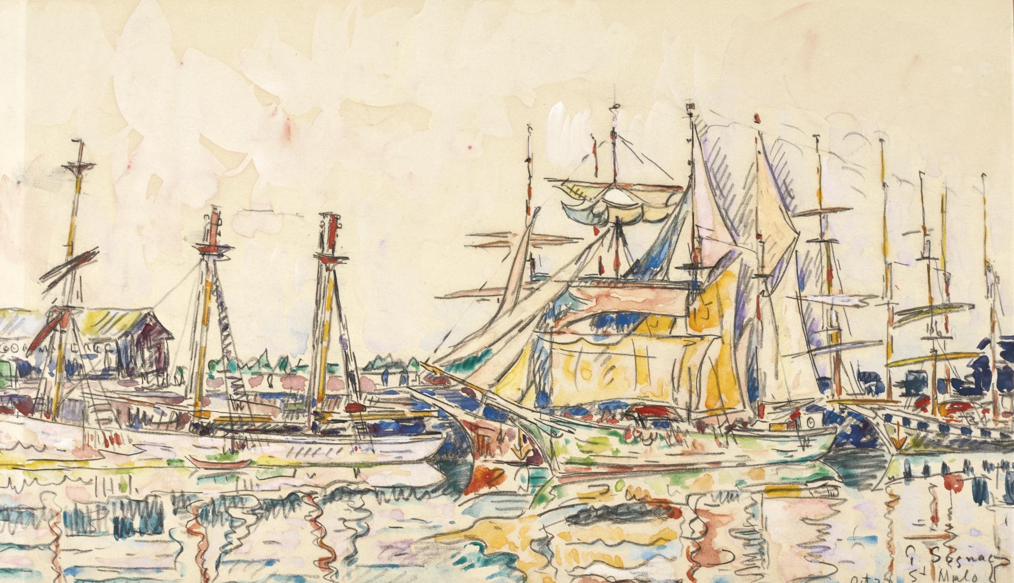 Paul Signac-Saint Malo, Terreneuvas A Quai-1927