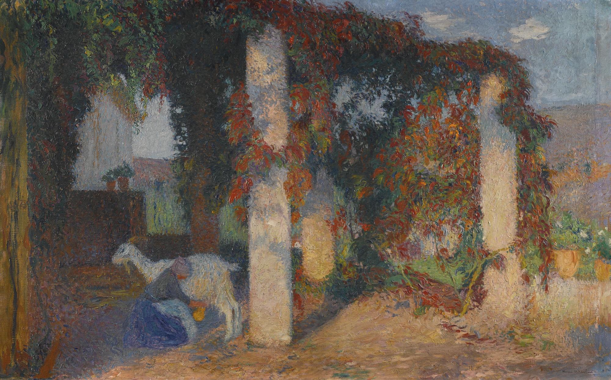 Henri Martin-Jeune Fille Trayant Une Chevre Sous Une Des Pergolas De Marquayrol-1910