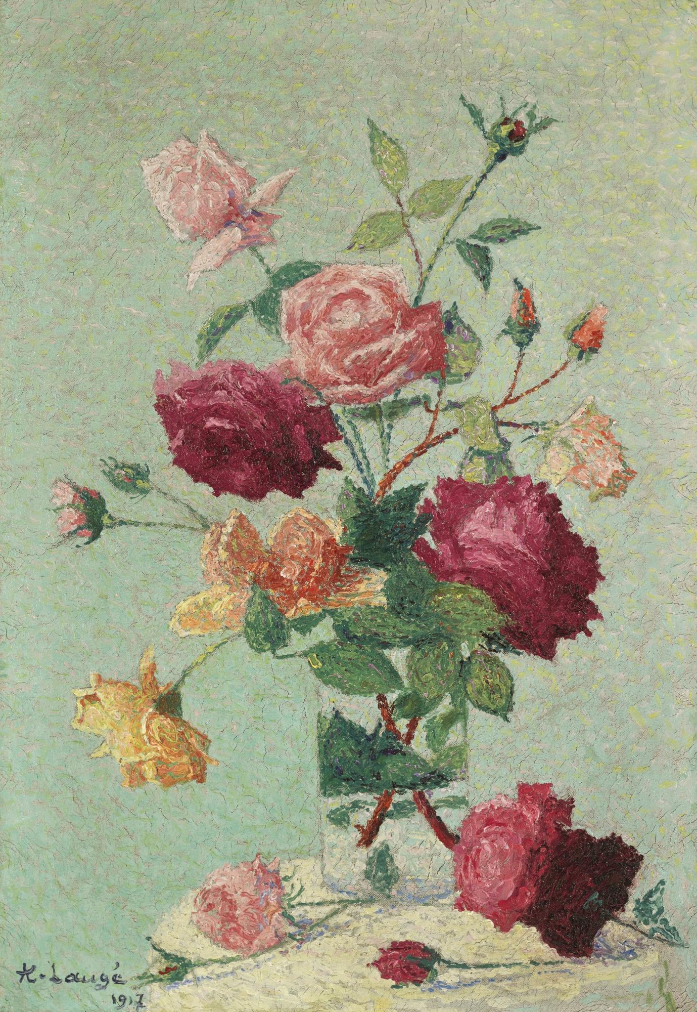 Achille Lauge-Bouquet De Roses Dans Un Vase Transparent-1917