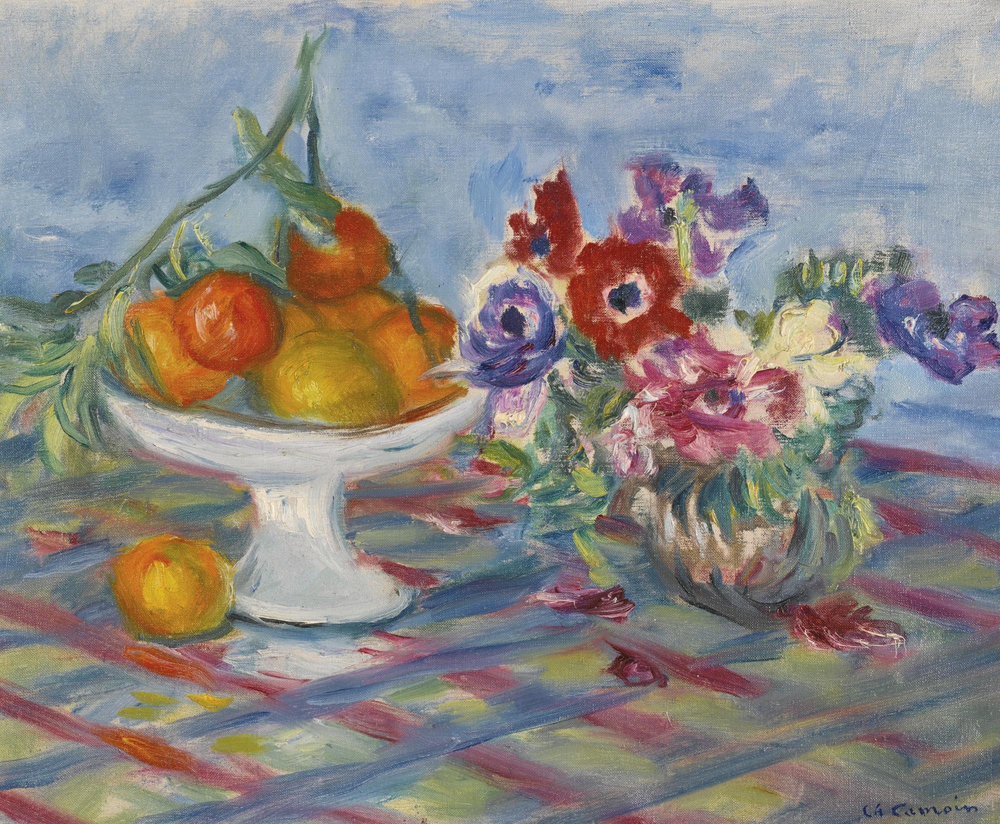 Charles Camoin-Compotier D'Oranges Et Vase D'Anemones-1941