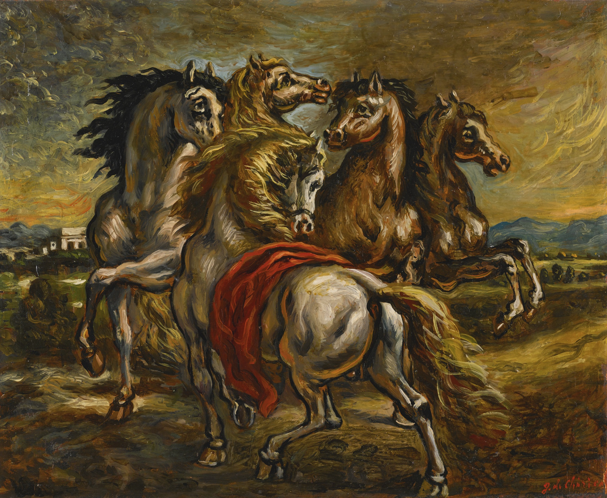 Giorgio de Chirico-Cavalli Dell'Ellesponto (Horses Of The Hellespont)-1950
