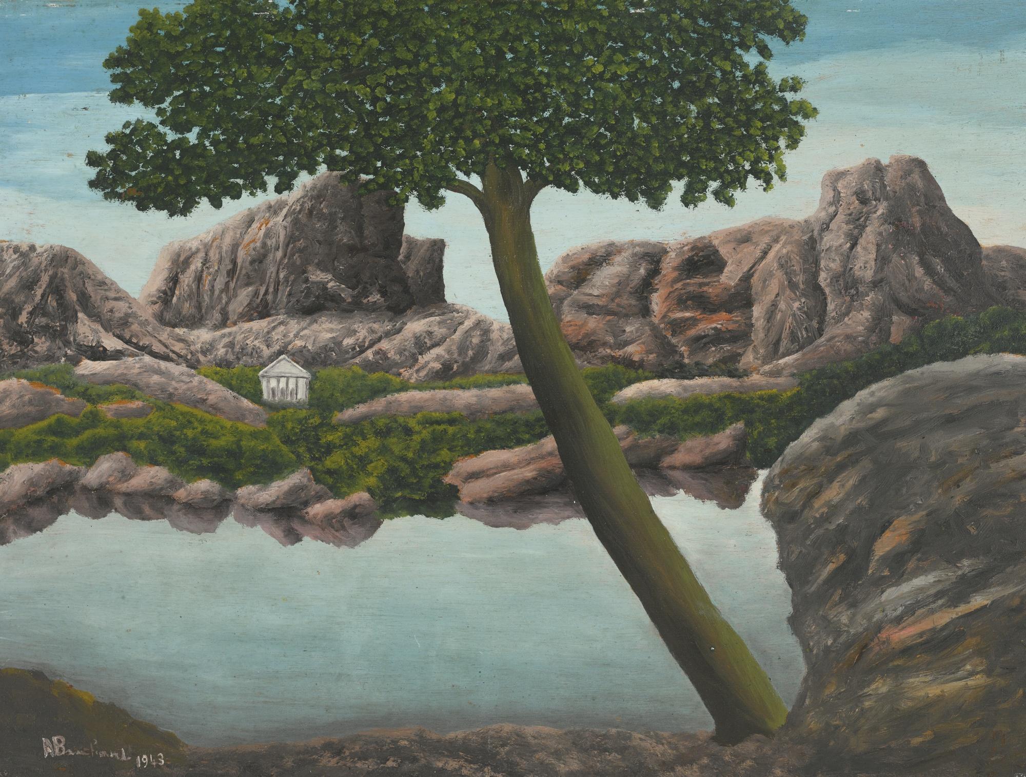 Andre Bauchant-Vase De Fleurs Sur Un Rocher (Vase De Fleurs Dans Un Paysage Lacustre)-1941