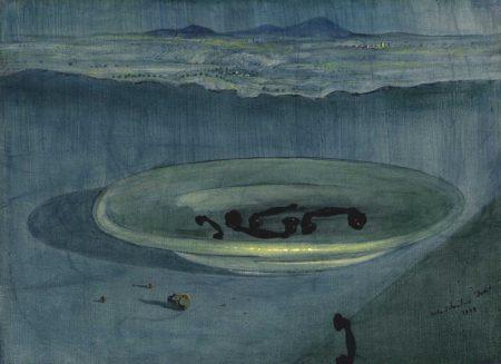 Salvador Dali-Paisatge amb telefons sobre un plat (Landscape with Telephones on a Plate)-1939