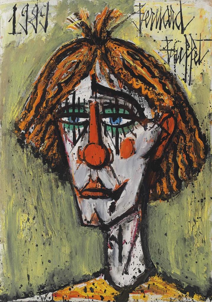 Bernard Buffet-Tete de clown, fond beige-1999