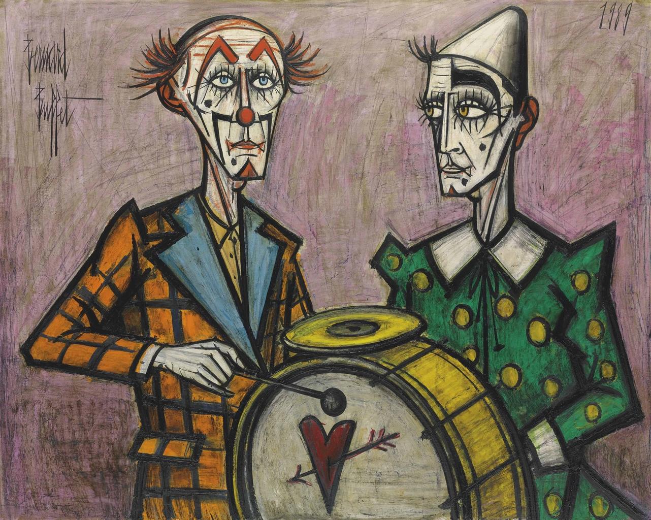 Bernard Buffet-Deux clowns a la grosse caisse-1989