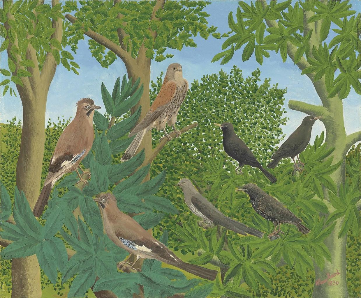 Andre Bauchant-Sept oiseaux sur les branches-1930