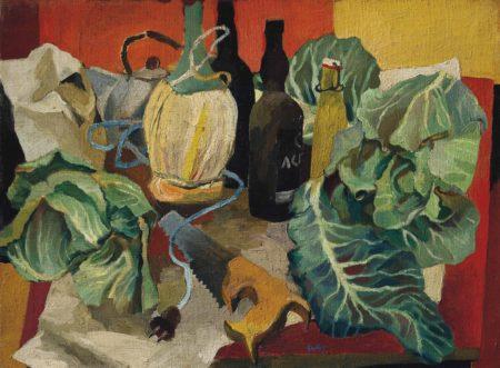 Renato Guttuso-Natura morta sul tavolo rosso (Cavoli sul tavolo rosso)-1942