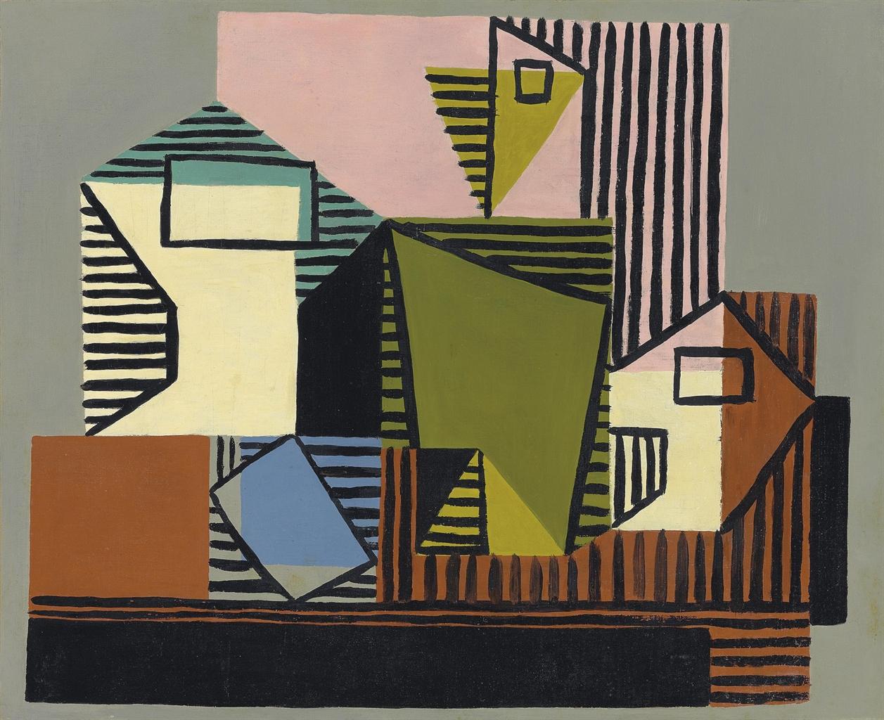 Pablo Picasso-Compotier, bouteille et verre-1922