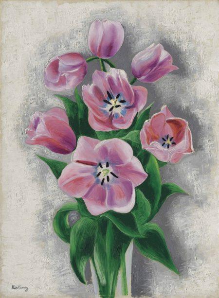 Moise Kisling-Vase de tulipes roses-