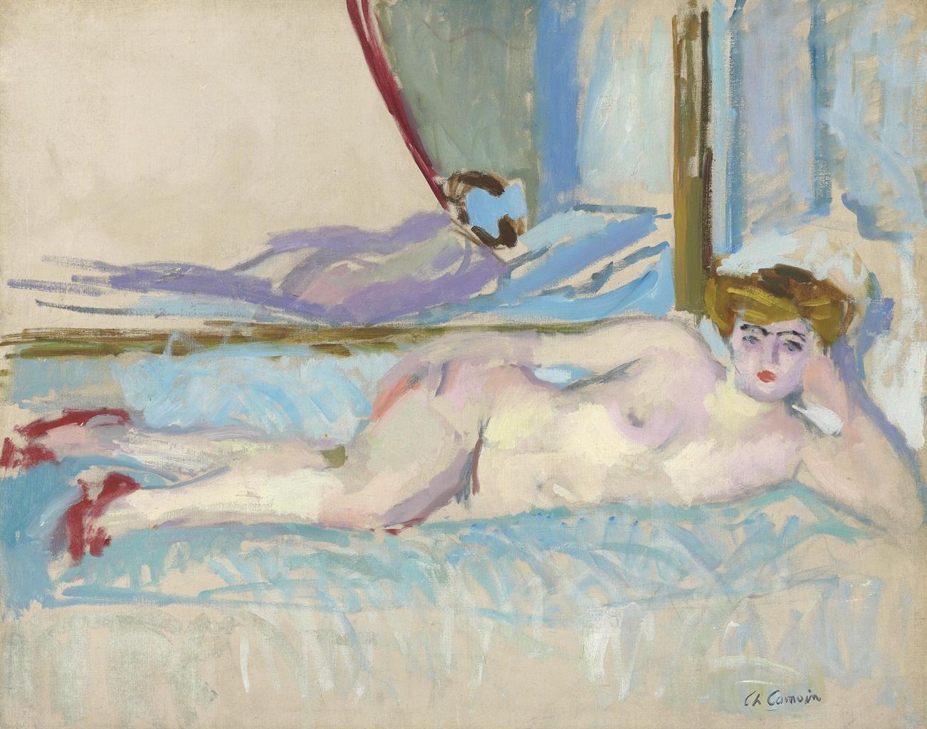 Charles Camoin-La blonde au miroir II (Pantoufles rouges)-1904