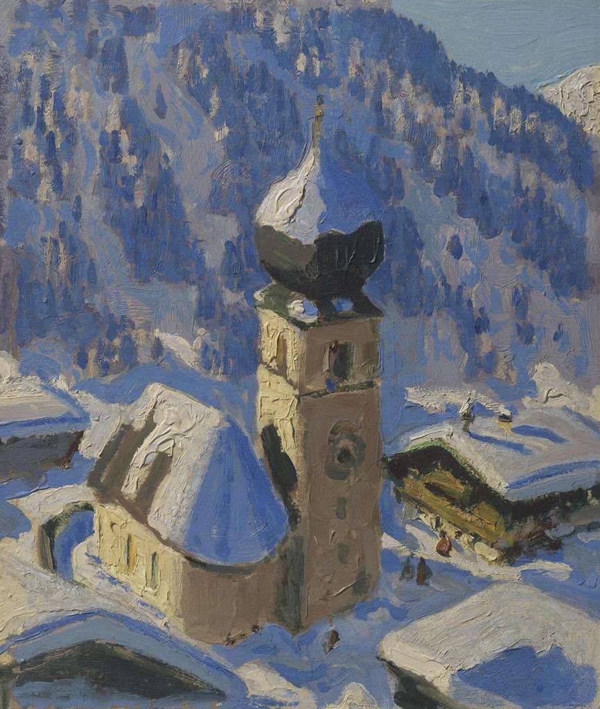 Alfons Walde-Tiroler Bergdorf (Auracher Kirchl)-1918