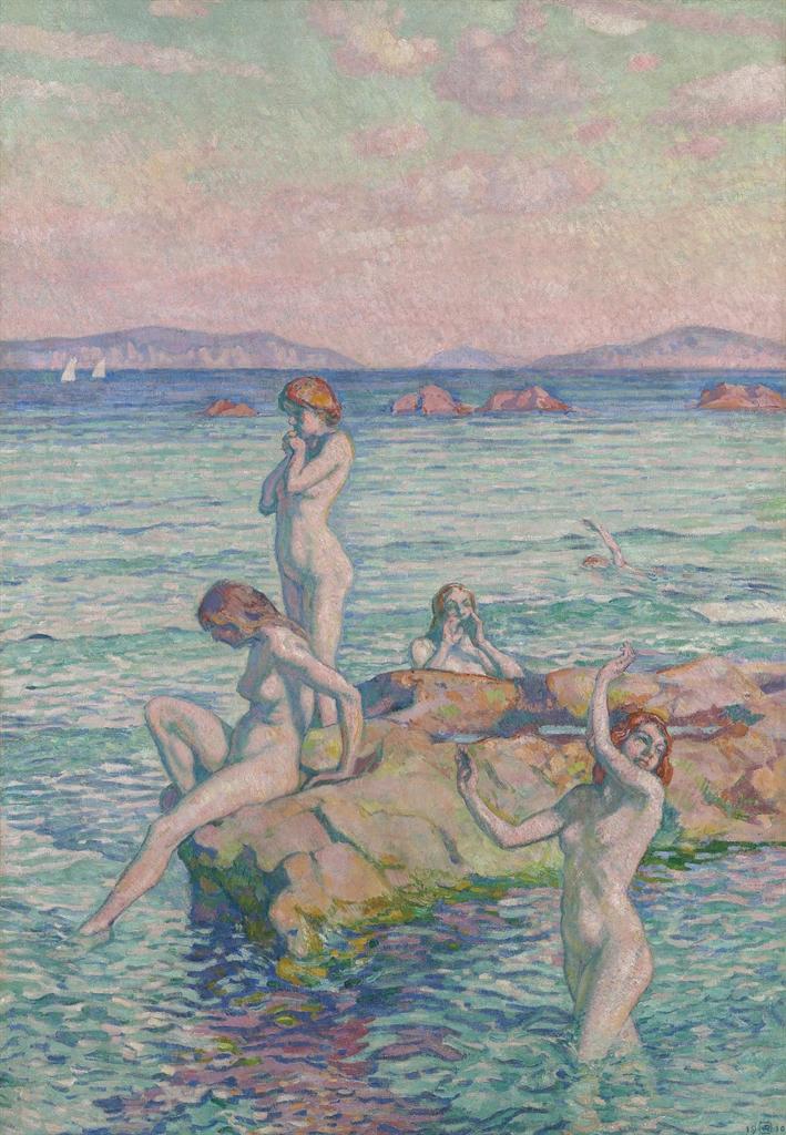 Theo van Rysselberghe-Baigneuses autour d'un rocher (Baigneuses sur les rochers)-1910