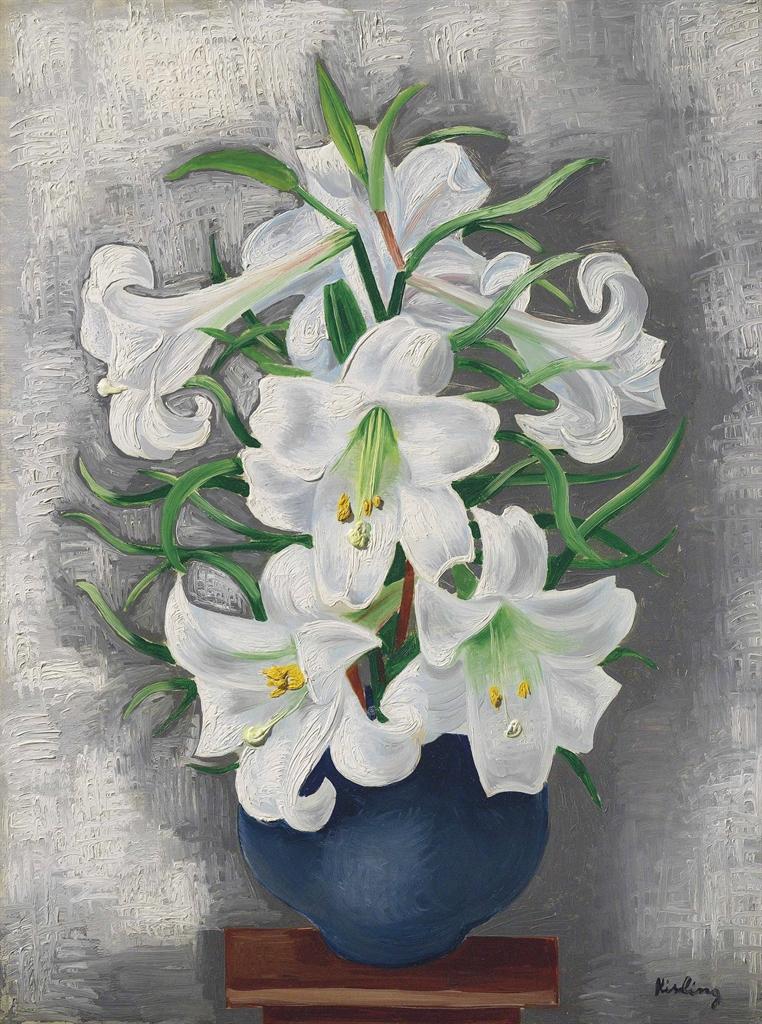 Moise Kisling-Vase de lys blancs-