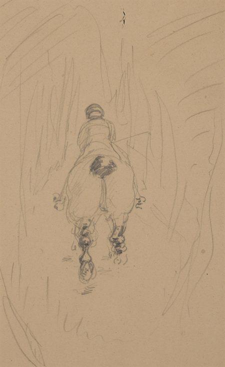Henri de Toulouse-Lautrec-Cavalier de dos (recto); Etude de cheval (verso)-1882