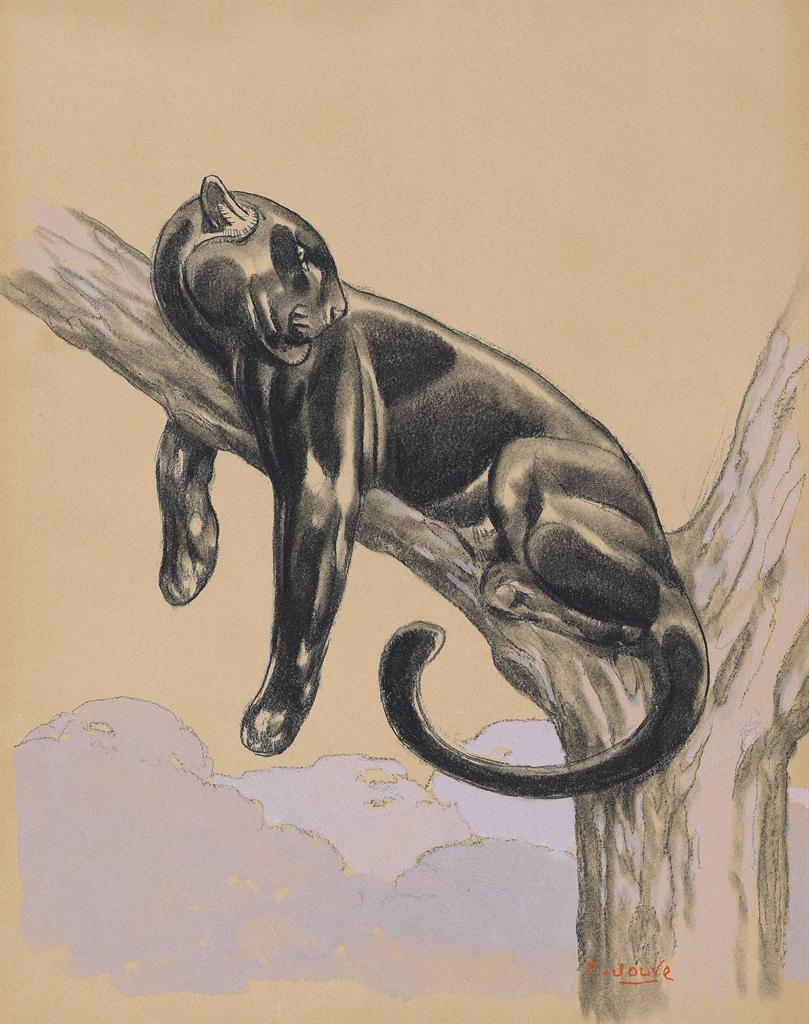 Paul Jouve-Panthere noire couchee sur une branche-
