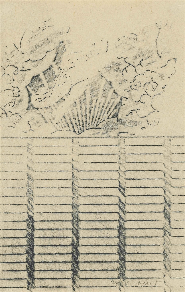 Max Ernst-The table-cloth in the Atlantic Ocean (projet d'illustration pour Babylone de Rene Crevel)-1931