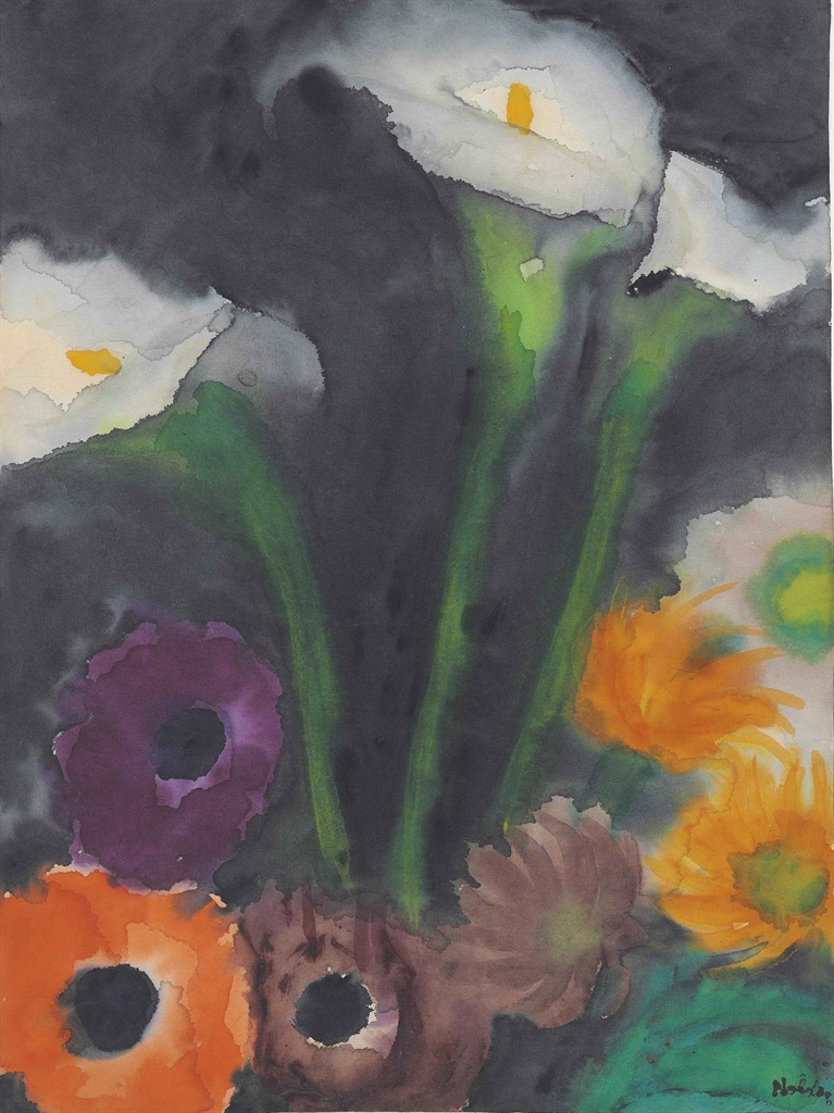 Emil Nolde-Lilien und Mohnblumen-