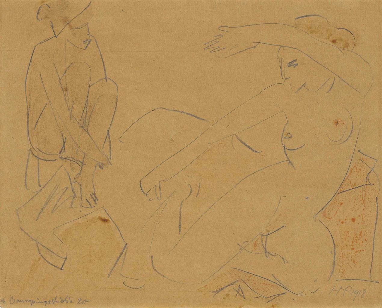Max Pechstein-Bewegungsstudie 20-1918