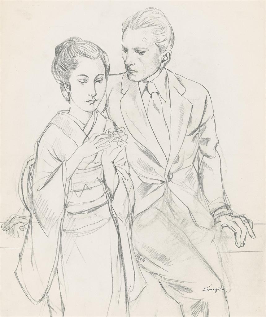 Tsuguharu Foujita-Madame Butterfly et Pinkerton-1950