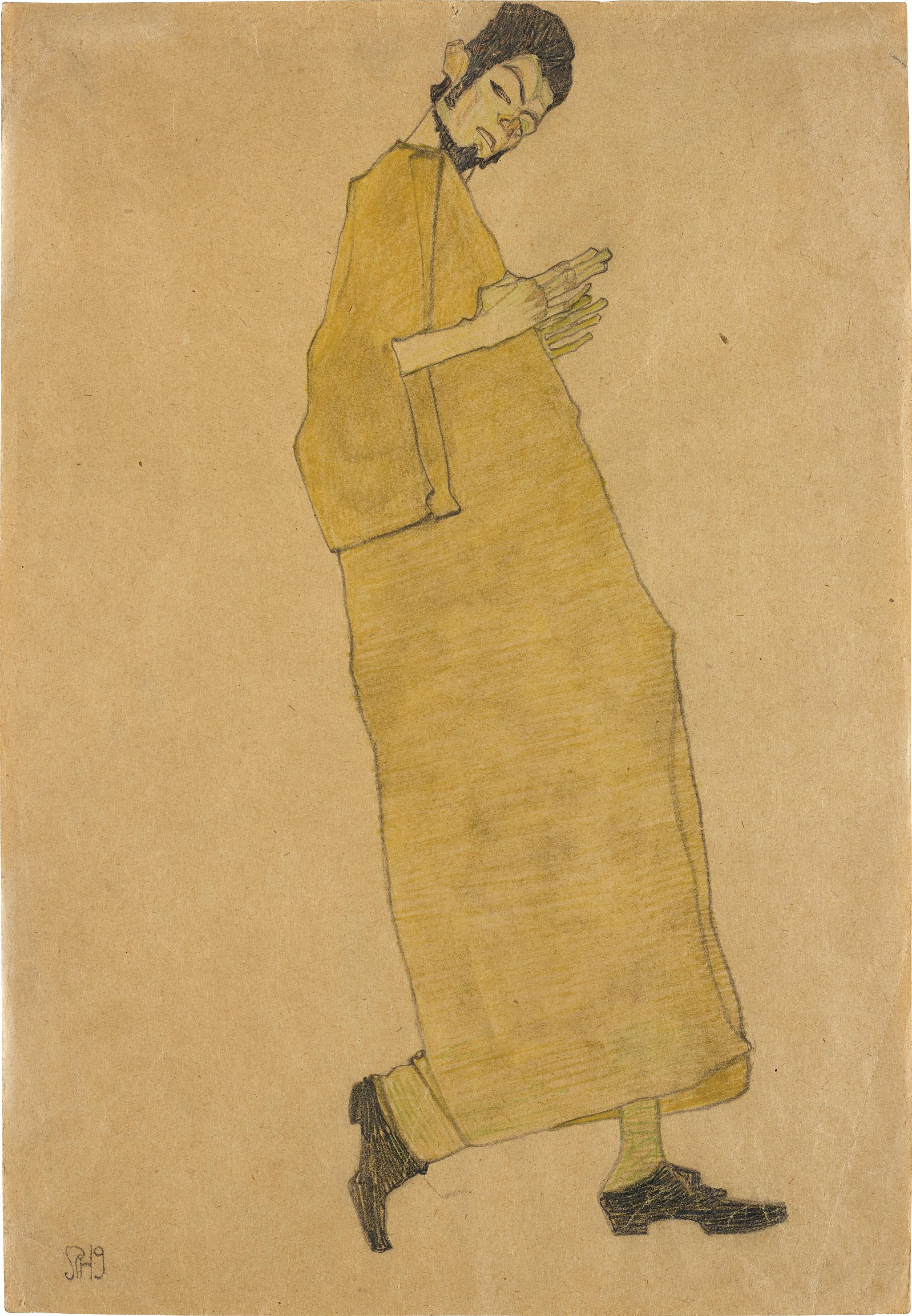 Egon Schiele-Manliche Figur Nach Rechts (Selbstportrat) Male Figure Facing Right (Self Portrait)-1909
