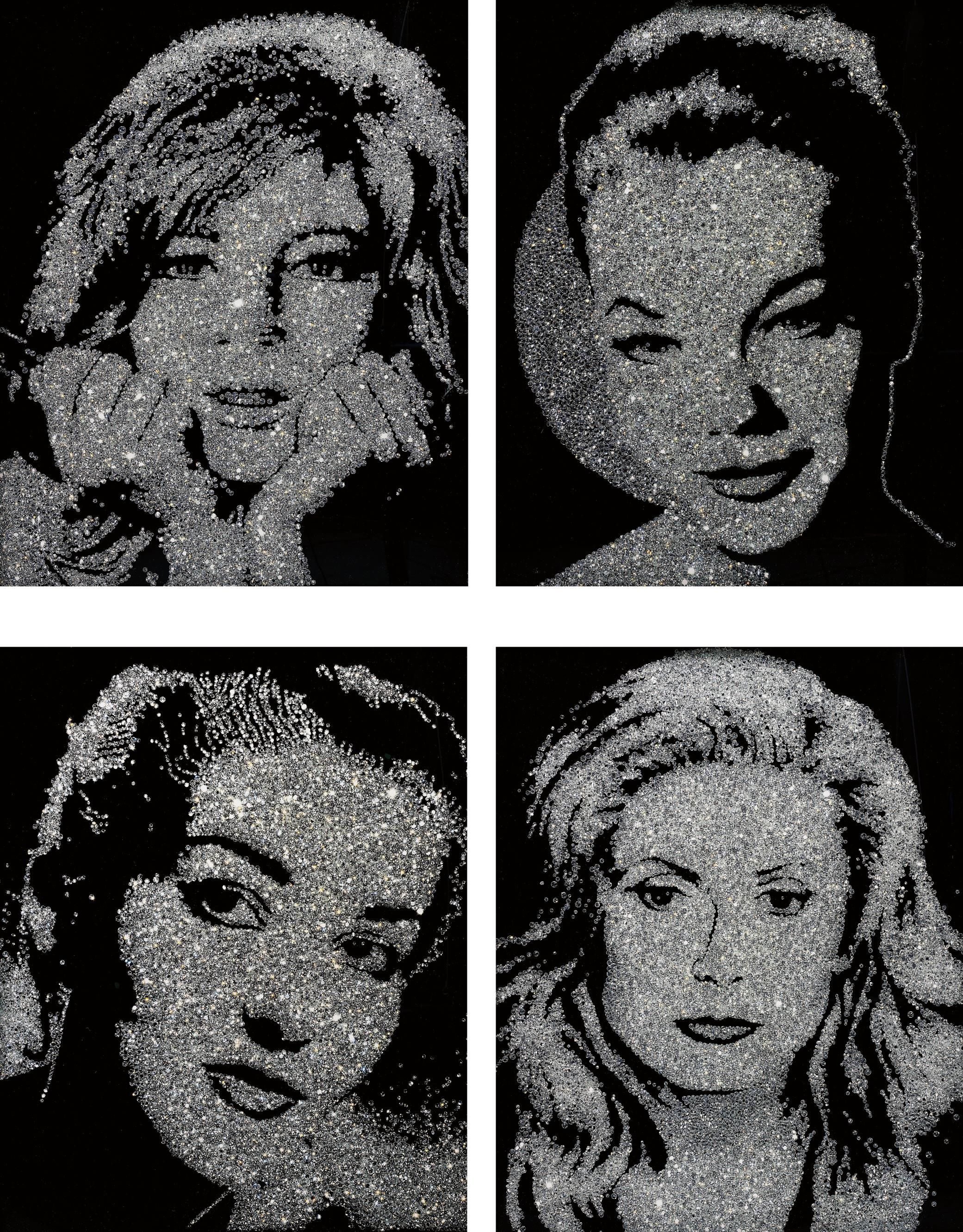 Vik Muniz-Four Works: (I) Monica Vitti; (II) Romy Schneider; (III) Maria Callas; (IV) Catherine Deneuve; (From Pictures Of Diamond Dust)-2004