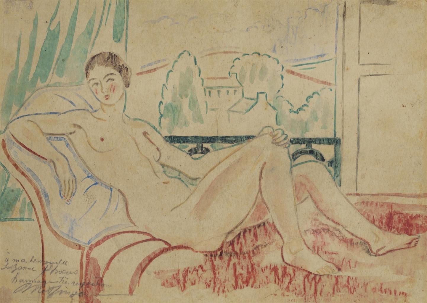 Jean Metzinger-Nue au divan sur fond de paysage-1923