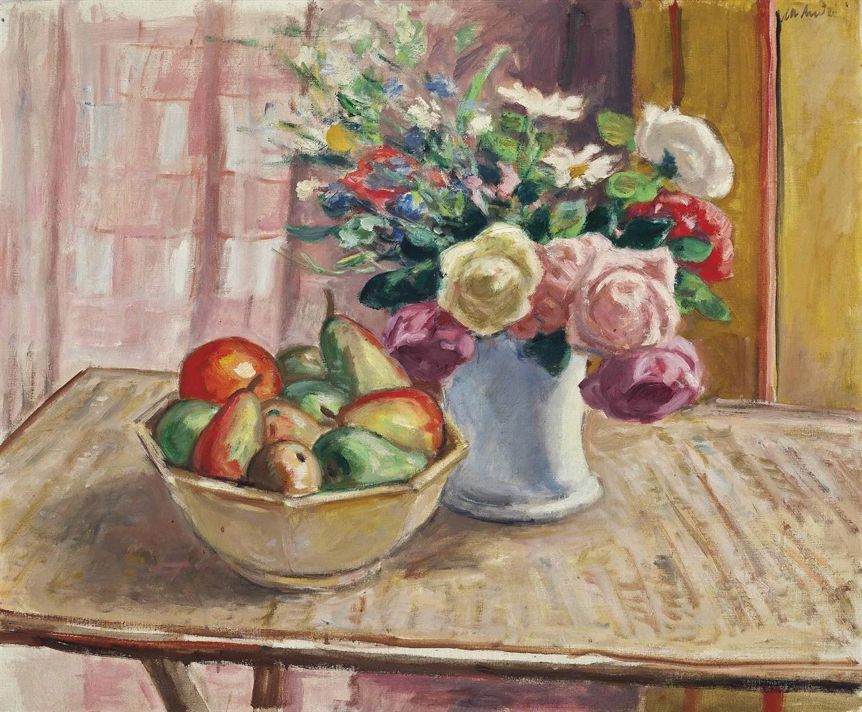 Albert Andre-Fleurs dans un vase et fruits-1931