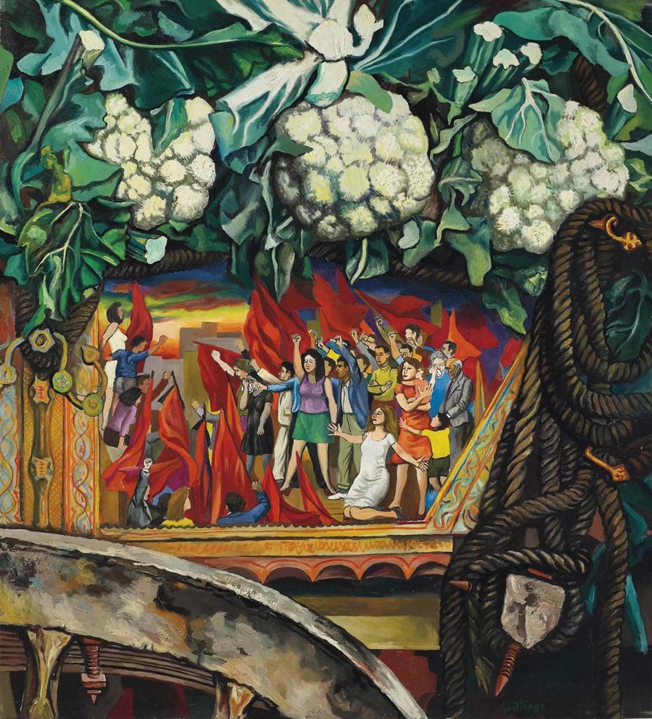 Renato Guttuso-Carretto con cavoli (Carretto siciliano con i funerali di Togliatti)-1973