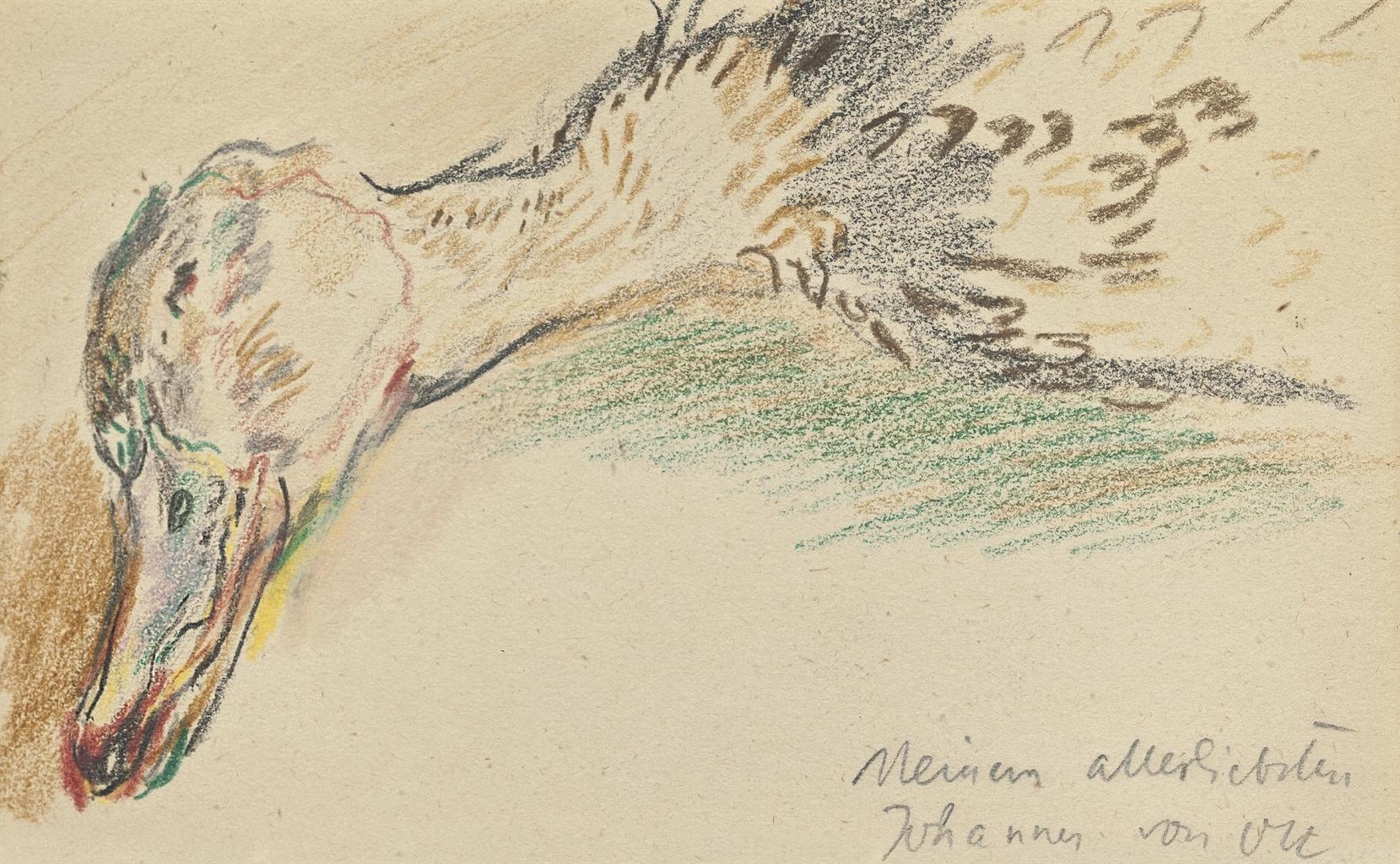 Oskar Kokoschka-Kopf einer Ente-1942