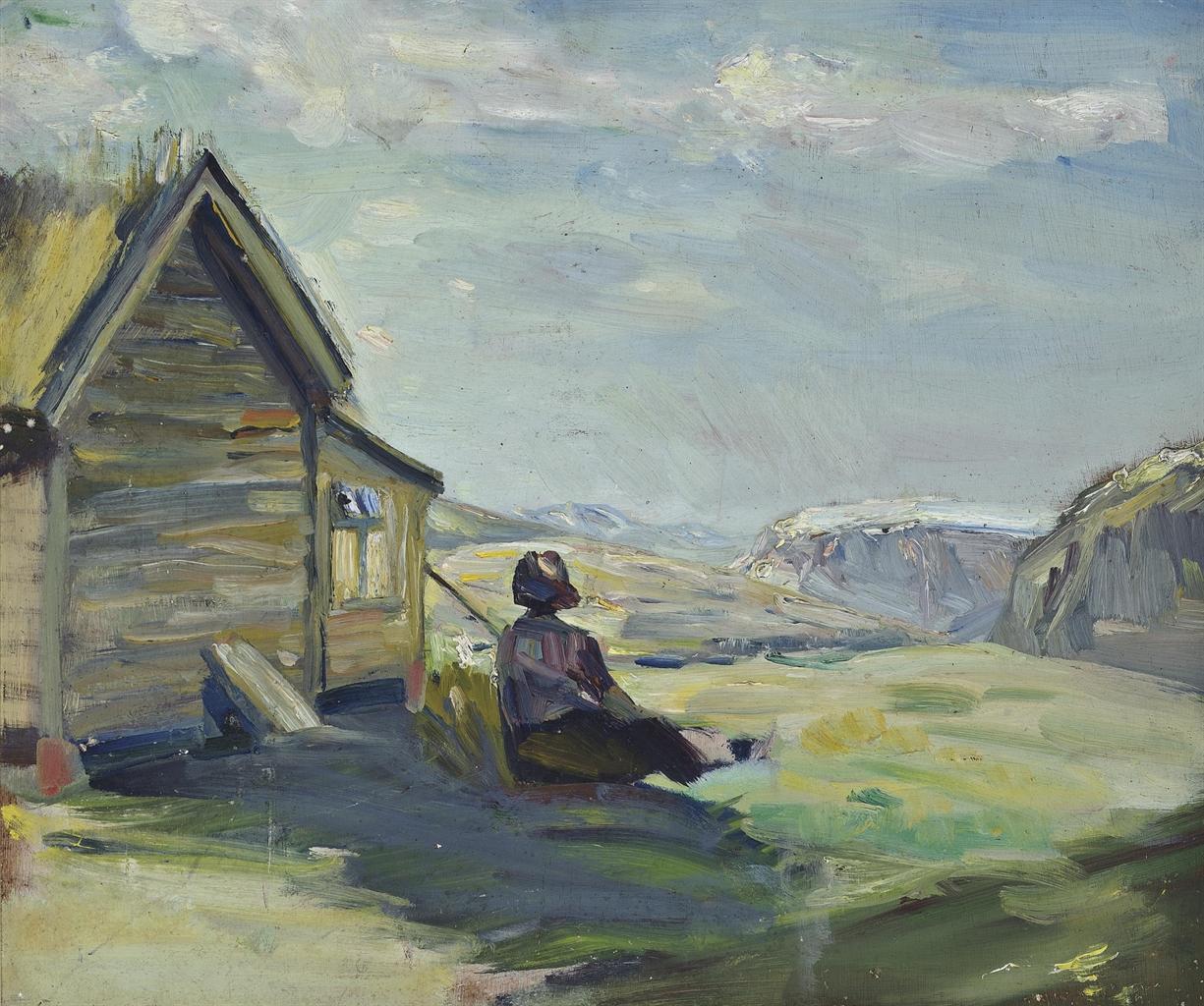 Kurt Schwitters-Ohne Titel (Helma Schwitters neben einer Hutte beim Hotel Djupvasshytta)-1942
