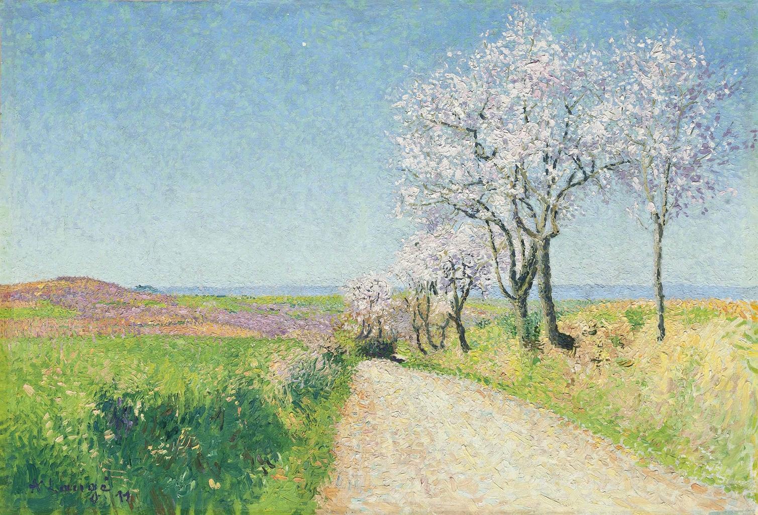 Achille Lauge-Chemin aux amandiers en fleur-1911
