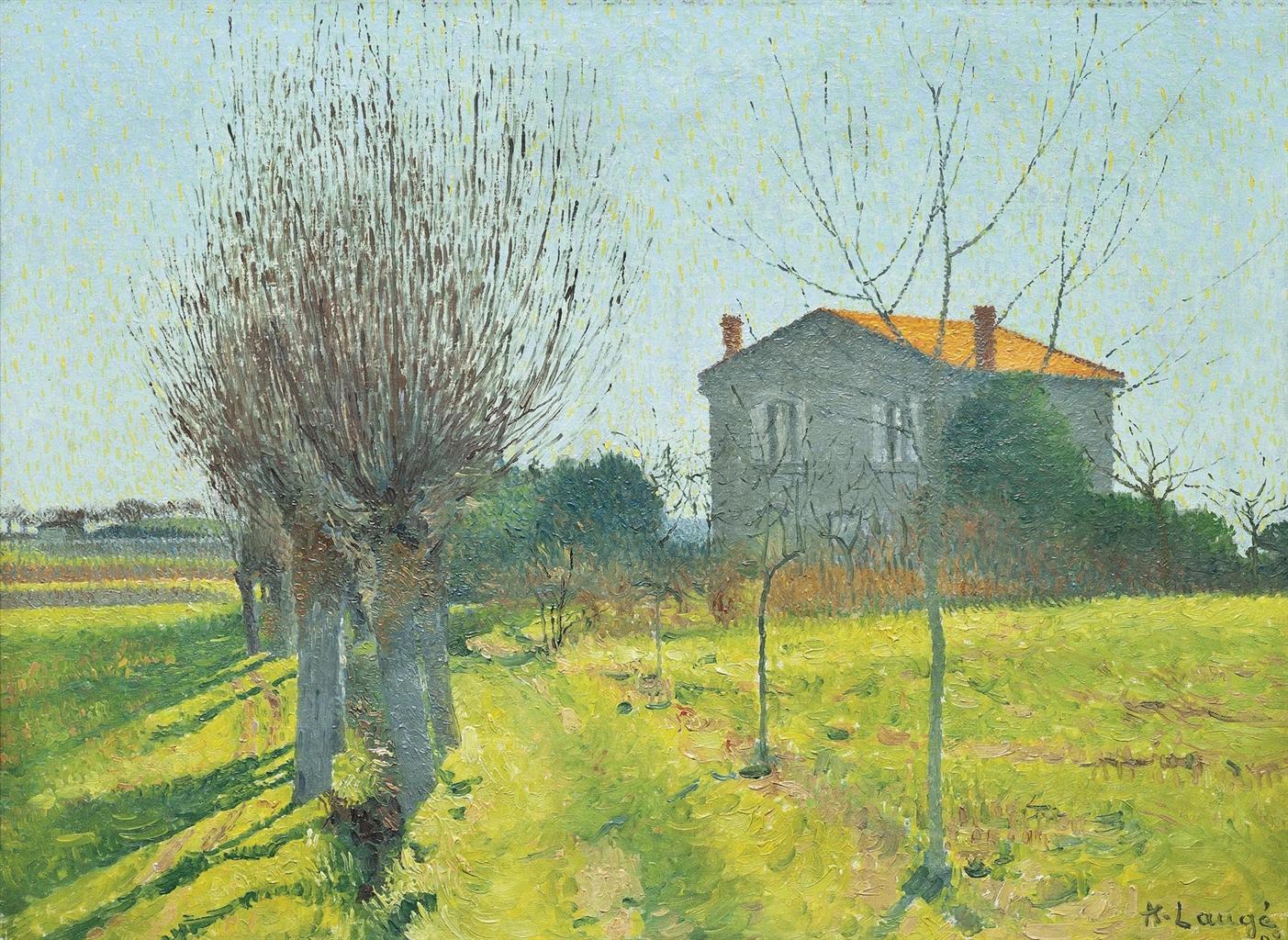 Achille Lauge-L'allee de saules derriere l'Alouette-1908
