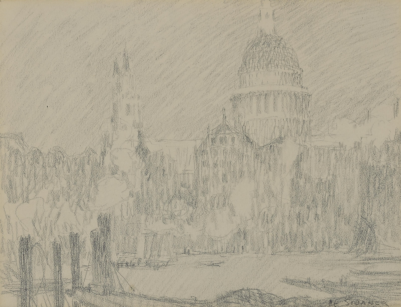 Henri Le Sidaner-St. Paul's Cathedral, London-1908