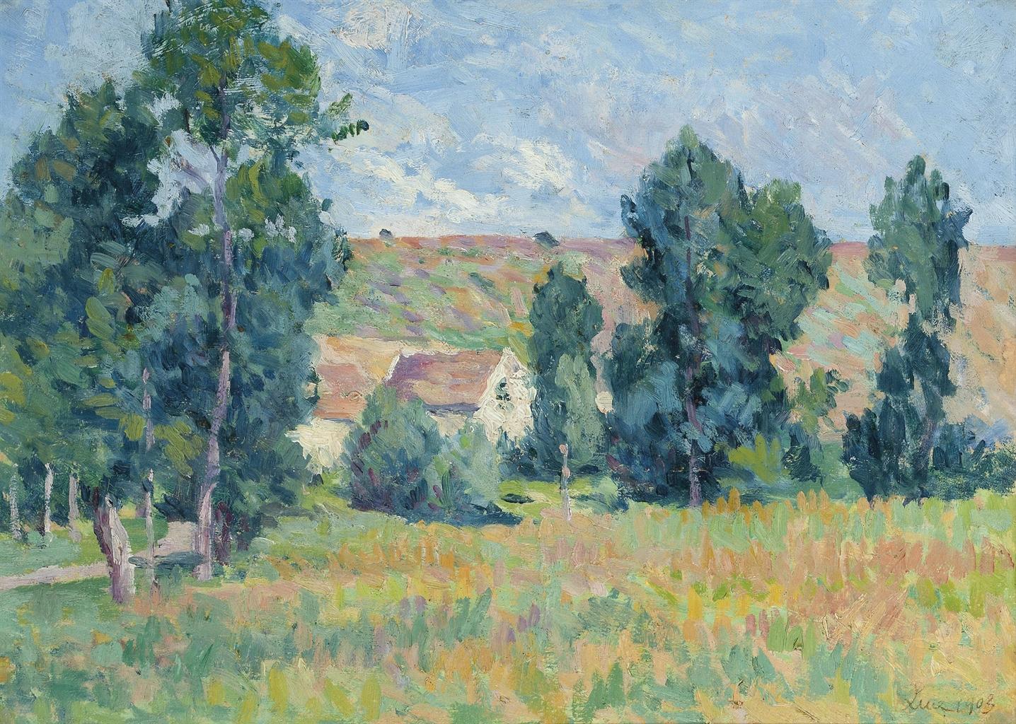 Maximilien Luce-Moulineux, paysage a la ferme-1903
